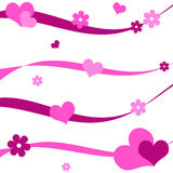 Hearts and flowers. Funky pink hearts and flowers design Stock Image