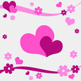 Hearts and flowers. Funky pink hearts and flowers design Stock Images