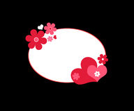 Hearts and flowers. Red hearts and flowers frame Royalty Free Stock Image