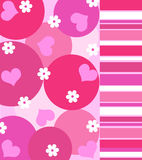 Hearts and flowers. Pink hearts and flowers in pink Stock Image