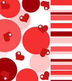 Hearts and flowers. With stripes in red stock illustration