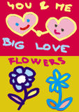 Hearts and flowers. And big love inscription Royalty Free Stock Images
