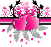 Hearts and flowers. Pink and black design of hearts and flowers vector illustration