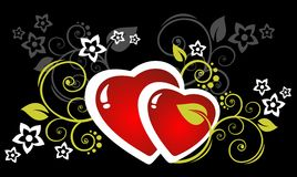 Hearts and flowers. Two hearts and flowers on a dark background. Valentine's illustration Stock Photo