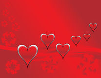 Hearts and Flowers. Are featured in an abstract Valentine's Day Illustration Royalty Free Stock Photos