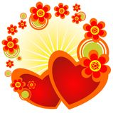 Hearts and flowers Royalty Free Stock Image