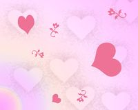 Hearts and Flowers Background. A digitally created background of hearts and flowers Stock Image