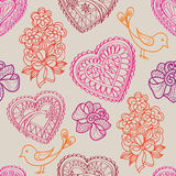 Hearts flowers and birds seamless background. Love retro texture. Royalty Free Stock Photos