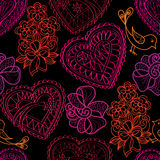 Hearts flowers and birds seamless background. Love retro texture. Royalty Free Stock Images