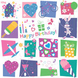 Hearts flowers and birthday gifts background Stock Photos