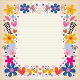 Hearts and flowers border Stock Image
