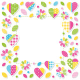 Hearts and flowers border. Illustration of colorful patterned hearts, flowers, leaves and dots frame on white background Stock Photo