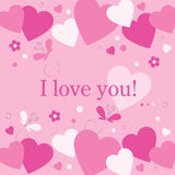 Hearts flowers and butterflies I love you card Royalty Free Stock Images