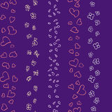 Hearts flowers and butterflies pattern Stock Photography