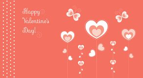 Hearts flowers butterflies red. Vector greeting card for valentines day Royalty Free Stock Photo