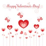Hearts flowers and butterflies. Vector greeting card for valentines day Stock Image