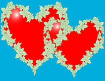 Hearts of flowers in the decoration Royalty Free Stock Photos