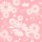Hearts and Flowers Design. Pink and white hearts and flowers illustration Royalty Free Stock Photos