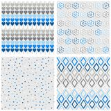 Hearts flowers dots and diamonds blue seamless pattern set Stock Images