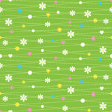 Hearts flowers and dots pattern. On green background Royalty Free Stock Images