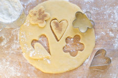 Hearts and flowers of dough Royalty Free Stock Photos