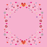 Hearts and flowers floral ornamental frame Royalty Free Stock Photography