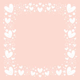 Hearts and flowers frame border background Royalty Free Stock Photography