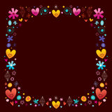 Hearts and flowers frame Royalty Free Stock Images