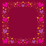 Hearts and flowers frame Royalty Free Stock Photos