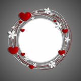 Hearts and Flowers Frame. On grey background  illustration Royalty Free Stock Image