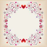 Hearts and flowers frame on lined note book paper Stock Image