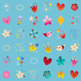 Hearts flowers nature little characters seamless pattern. Design Stock Photo