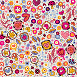 Hearts & flowers nature pattern Royalty Free Stock Photo