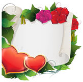 Hearts, flowers and parchment Stock Photography