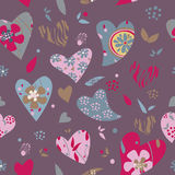 Hearts flowers pattern. Purple pattern with hearts and flowers vector illustration