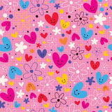 Hearts & flowers pattern Stock Images