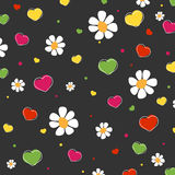 Hearts and  flowers pattern. Hearts, flowers and dots pattern. Vector Stock Photography