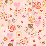 Hearts and flowers pattern. Pink pattern with hearts, flowers and birds stock illustration