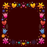 Hearts and flowers retro frame border Royalty Free Stock Photography