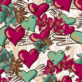 Hearts and Flowers Seamless Background Stock Image