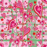 Hearts and flowers seamless pattern Stock Photography