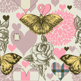 Hearts flowers seamless pattern. Hearts flowers and retro style butterfly seamless pattern vector illustration