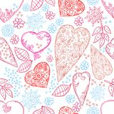 Hearts and flowers seamless texture. Seamless texture with flowers, hearts and hand-drawn Royalty Free Stock Photo
