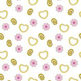 Hearts and flowers seamless theme. Vector illustration of hearts and flowers with spiral elements. Isolated on white seamless pattern motif. Vector project is royalty free illustration
