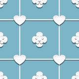 Hearts and flowers with shadow. Seamless vector pattern of a hearts and flowers with shadow Stock Photography
