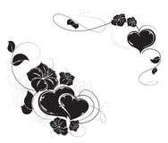 Hearts and flowers silhouettes Stock Photography