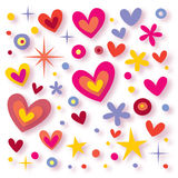 Hearts, flowers & stars Royalty Free Stock Photography