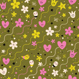 Hearts, flowers and stars cute characters seamless pattern. Design Stock Photos
