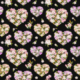 Hearts with flowers for Valentine day. Floral pink sakura, cherry blossom. Watercolor repeating pattern at contrast Royalty Free Stock Photography