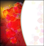 Hearts and Flowers Valentine's Day. Hearts on an abstract floral background. Valentine`s Day frame Stock Photos